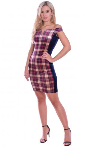 MontyQ Fashion - Image for Tartan Velvet Body Con