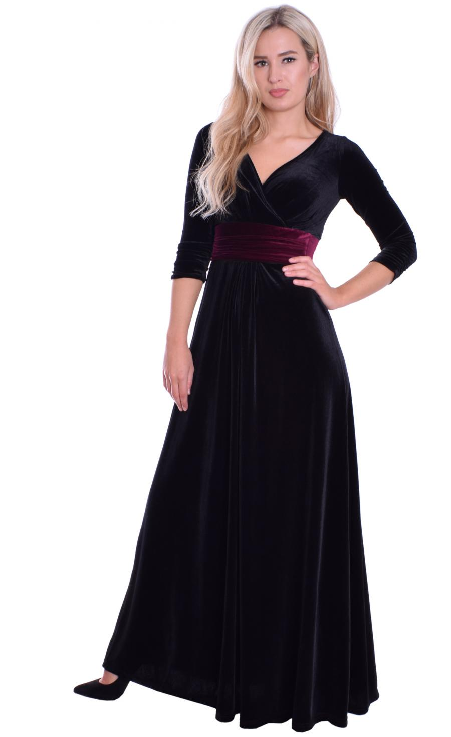 MontyQ Fashion - Image for Long Evening Dress Black Velvet Burgundy