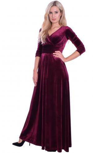 MontyQ Fashion - Image for Long Evening Dress Velvet Burgundy Empire
