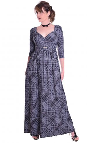 MontyQ Fashion - Image for Maxi Grey Tartan Party Dress