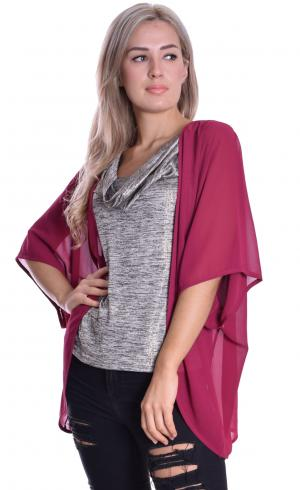 MontyQ Fashion - Image for Cape Cardigan Oxblood
