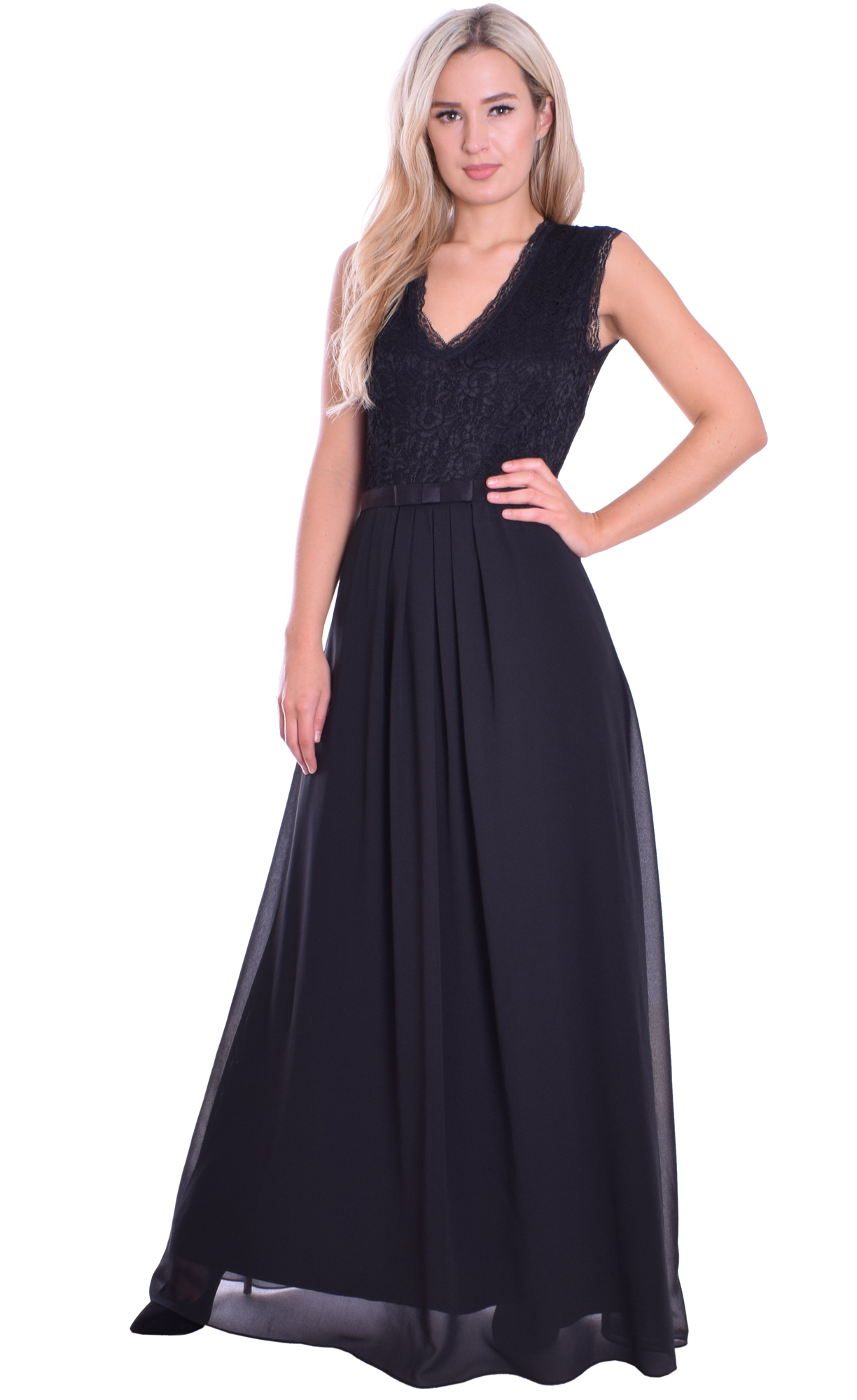 Image for Black Chiffon Lace Formal Evening Dress