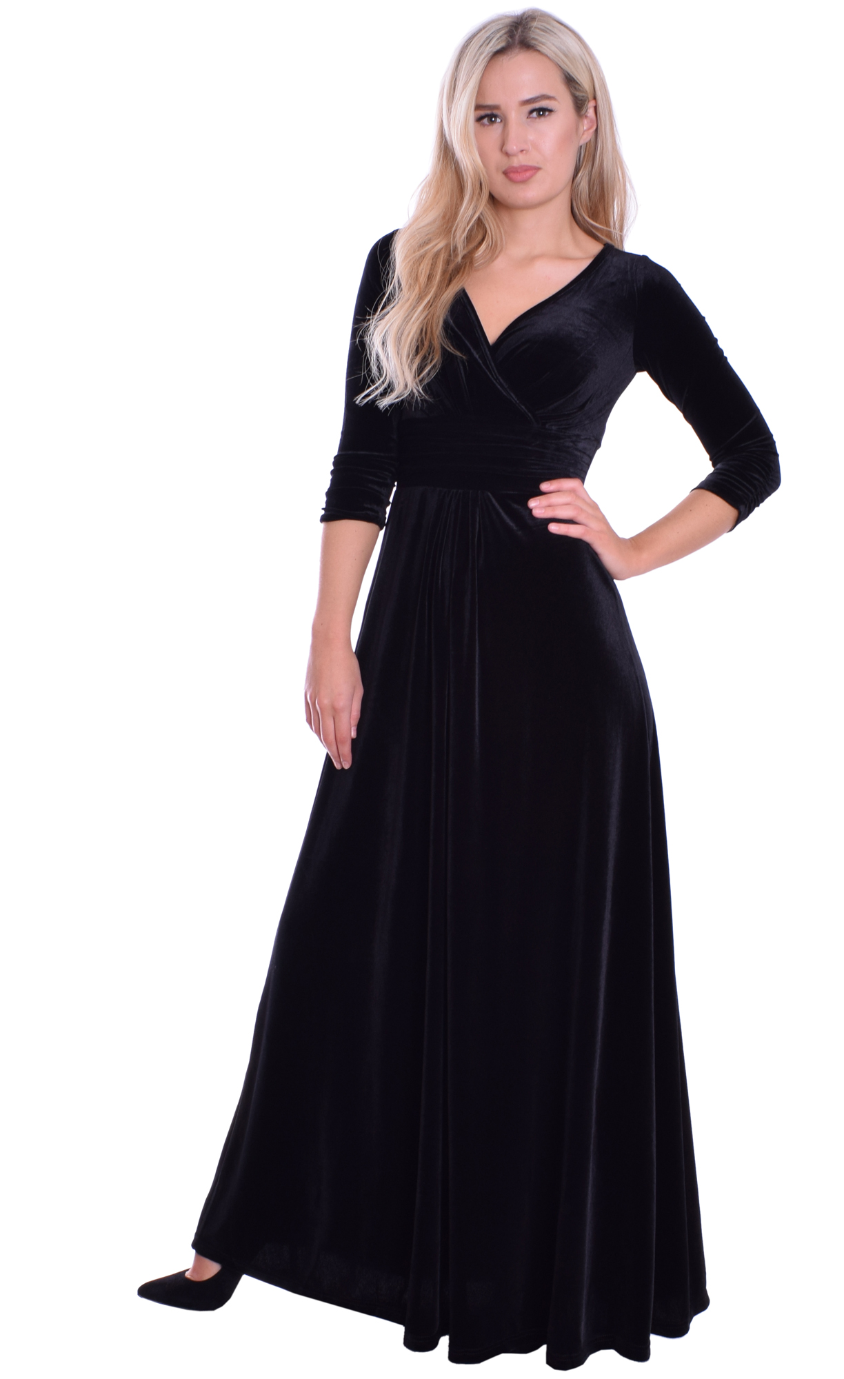Image for Evening Empire Dress Black Velvet