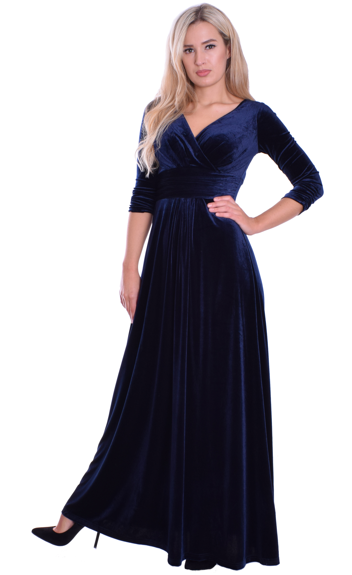 Image for Long Evening Dress Velvet Midnight Blue