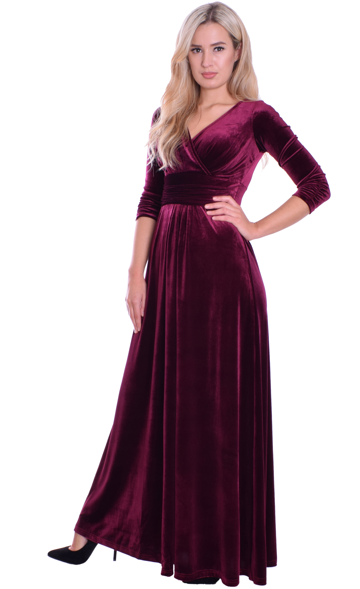 Image for Long Evening Dress Velvet Burgundy Empire