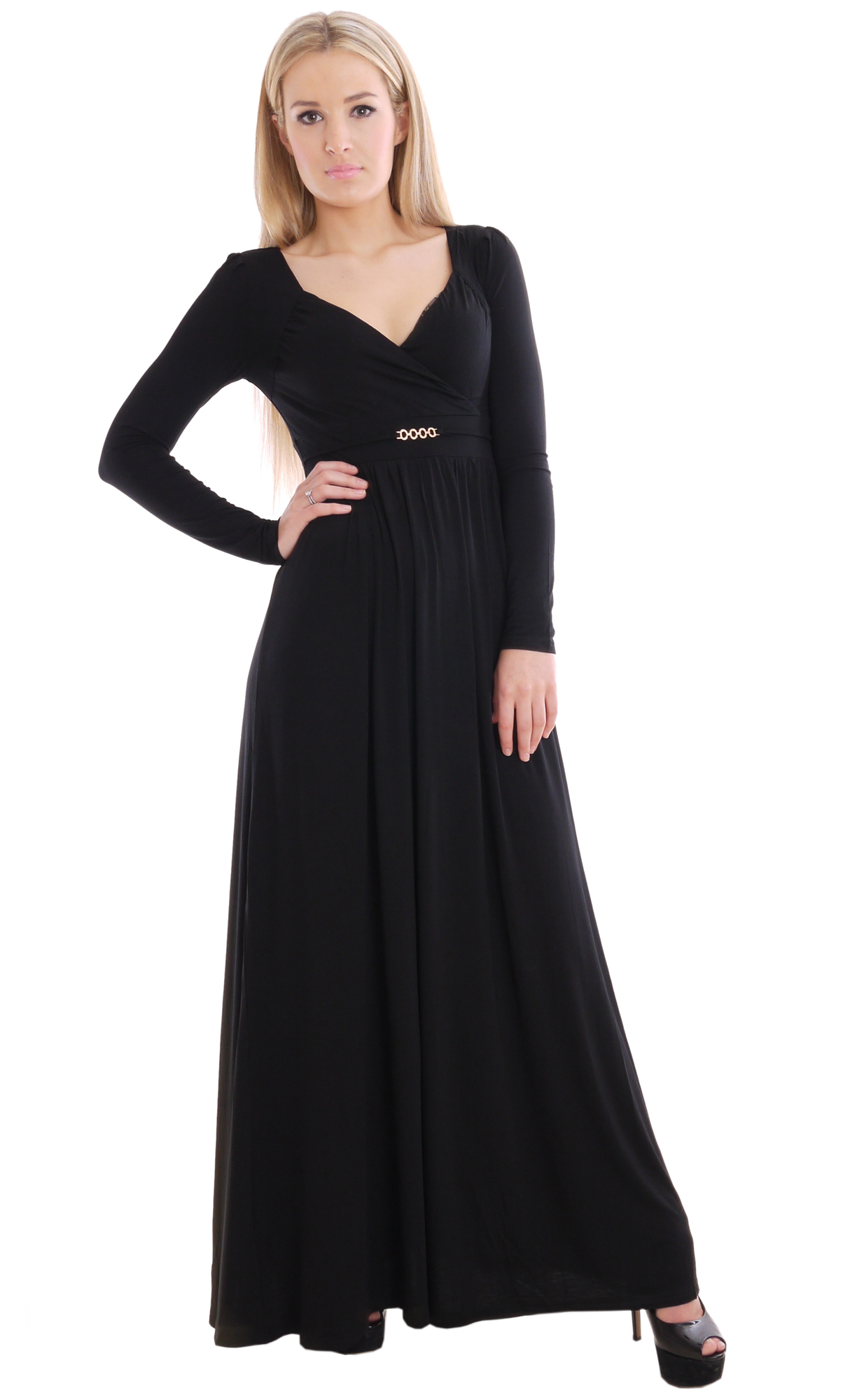 Image for Long Maxi Dress Empire Black