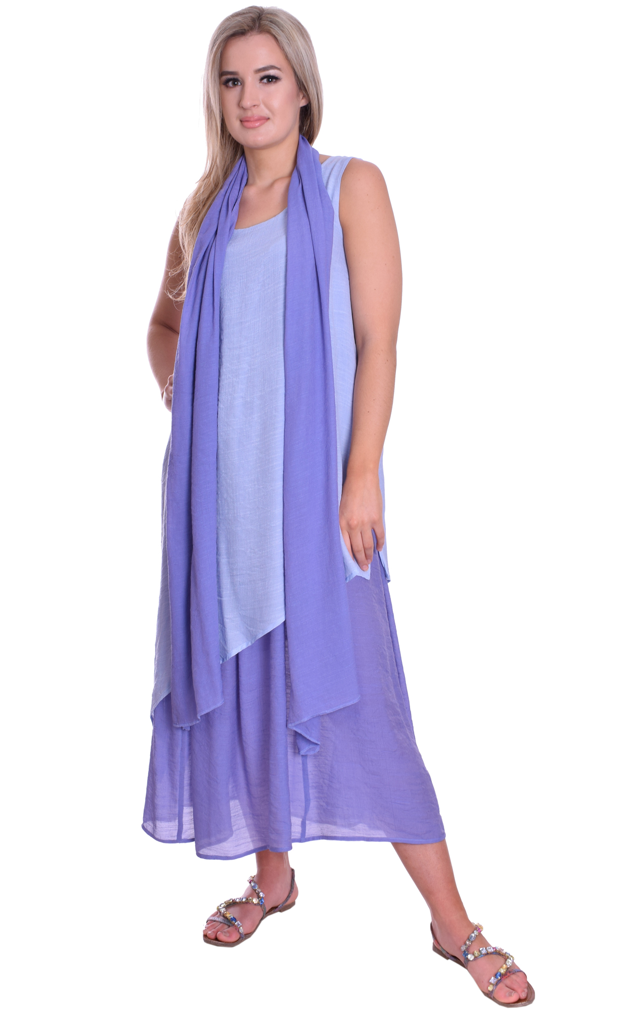 Image for Light Summer Maxi Dress With Scarf