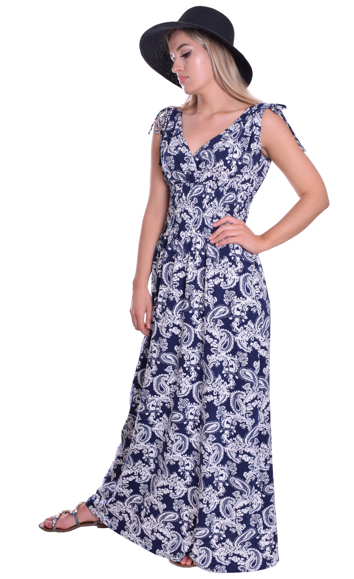 Image for Boho Summer Maxi Dress Navy Blue