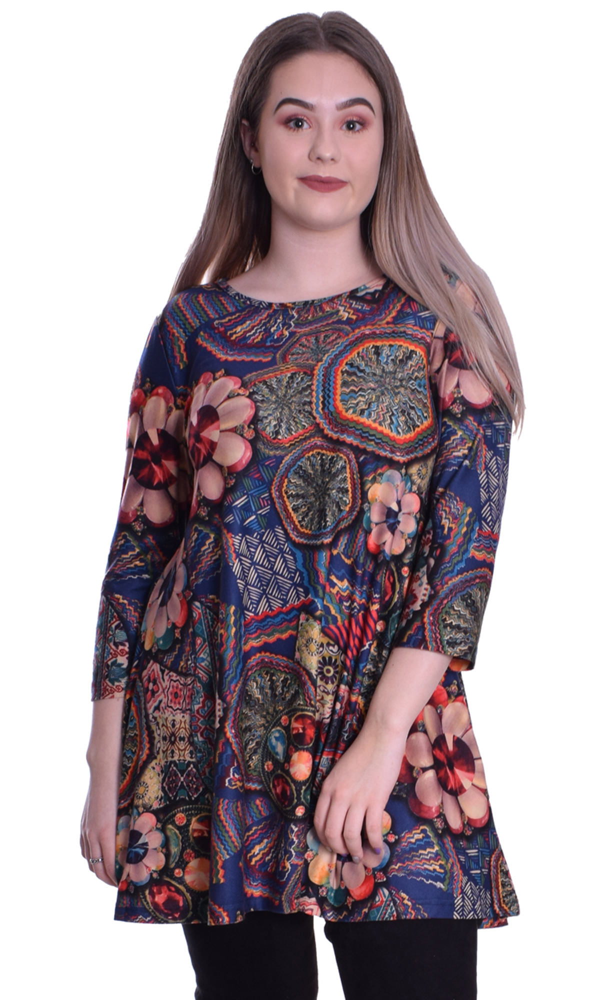 Image for Casual Patchwork Tunic Top