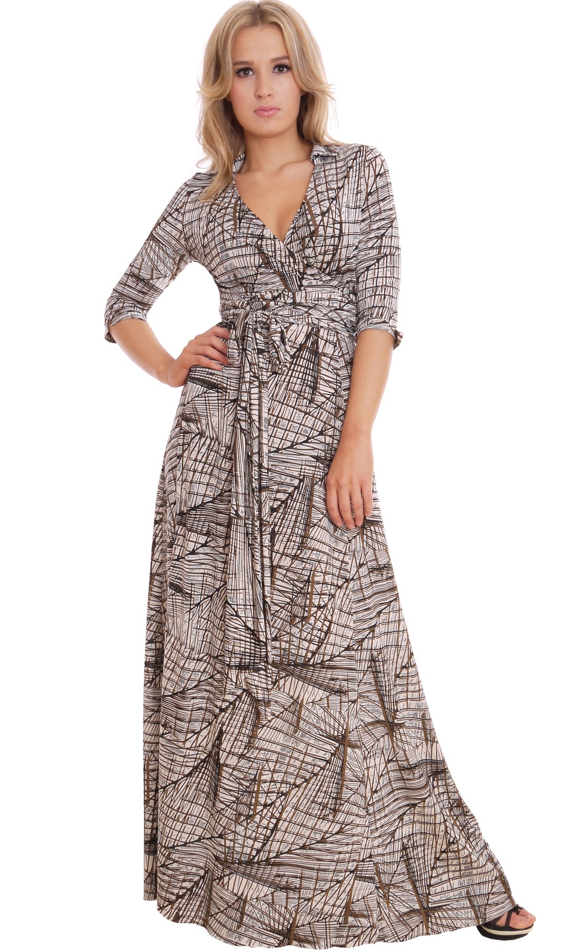 Image for Graphic Print Party Wrap Dress