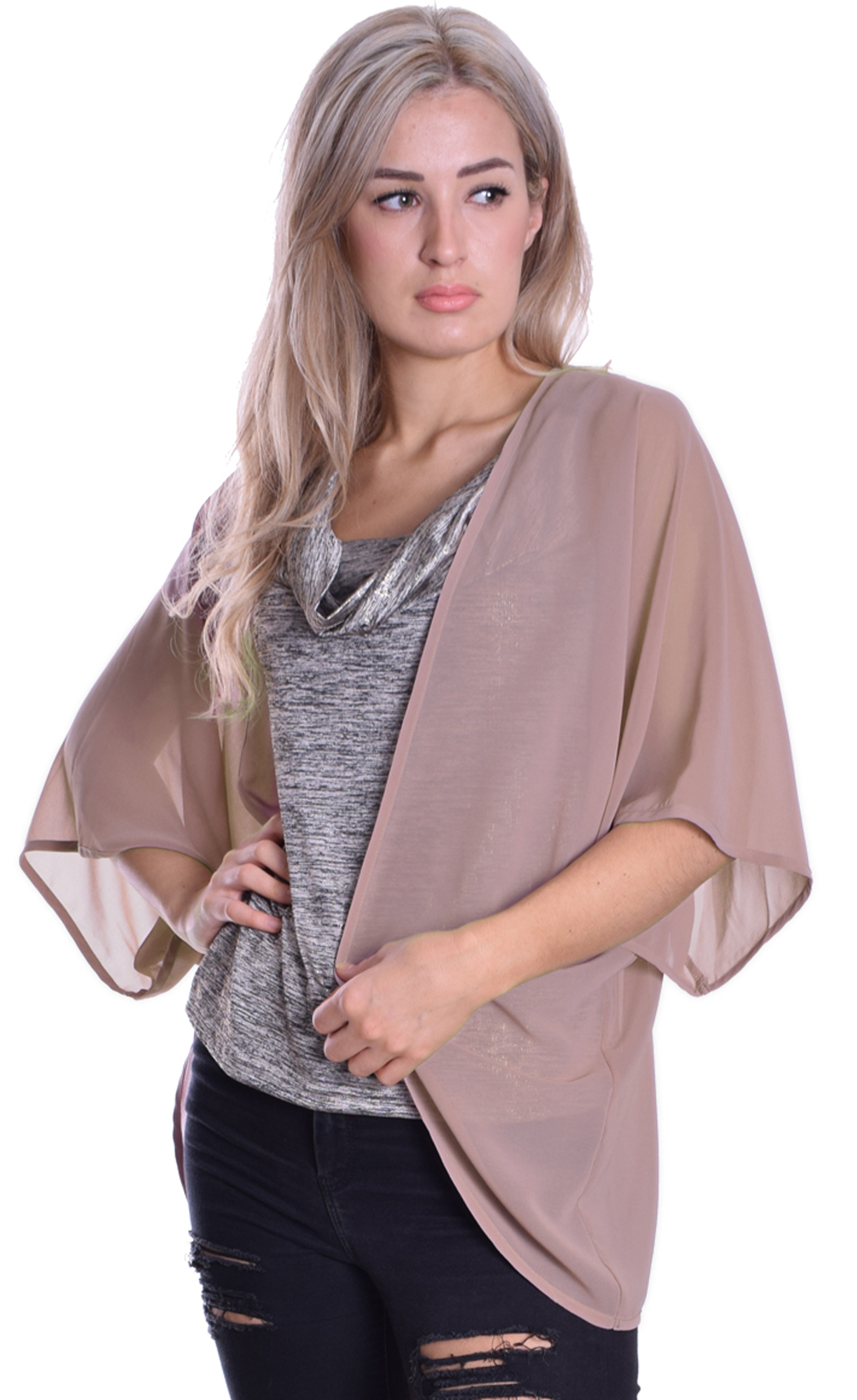 Image for Cape Cardigan Nude