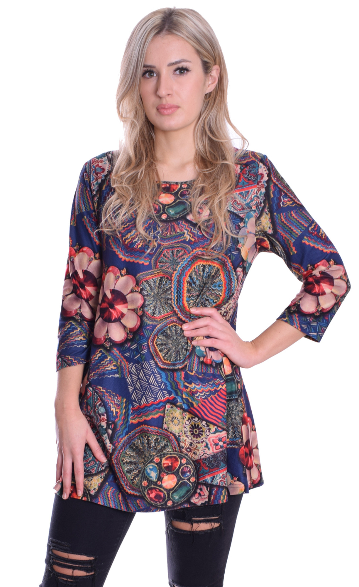Image for Patchwork Tunic Blue