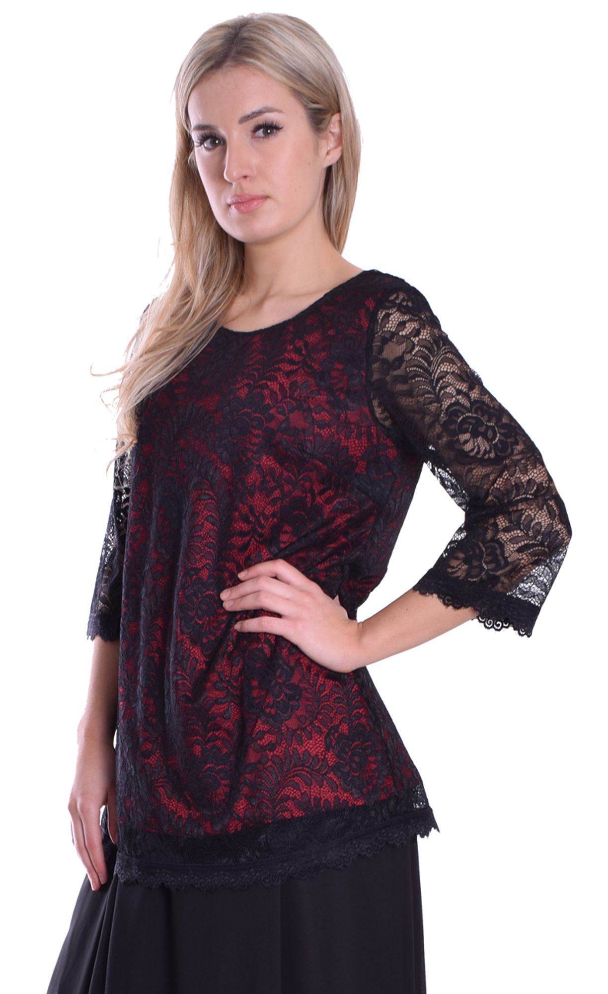 Image for Black Red Lace Top